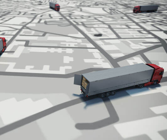 Map of semi tractor trailers with video dashcam units