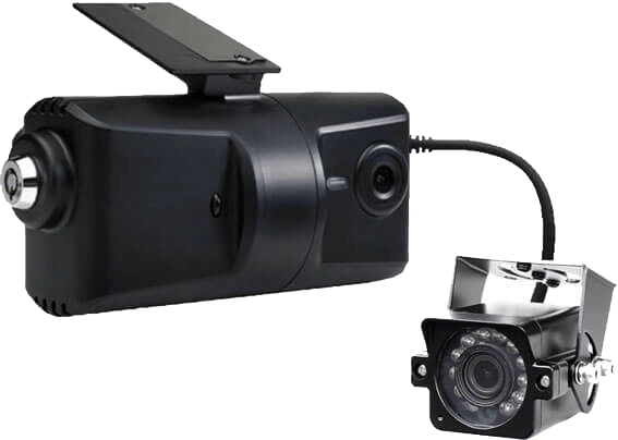 window mounted video dashcam unit with driver facing camera